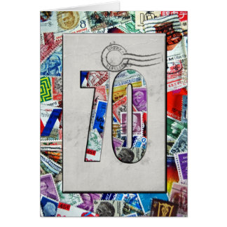 70th Birthday for stamp collector Greeting Cards