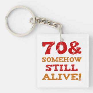 70th Birthday Gag Gift Key Ring