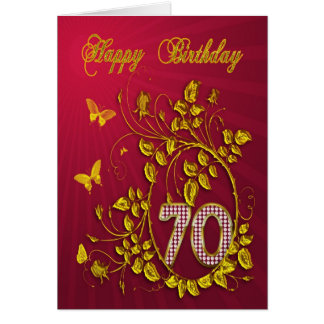 70th Birthday golden butterflies Card
