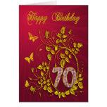 70th Birthday golden butterflies Cards