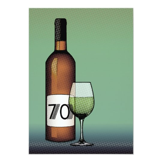 70th birthday : halftone wine bottle & glass