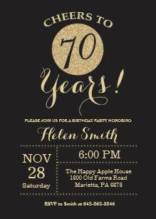 70th birthday invitations announcements zazzle uk 70th birthday invitation black and gold glitter filmwisefo