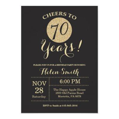 70th Birthday Party Gold Frame Blue Invitation