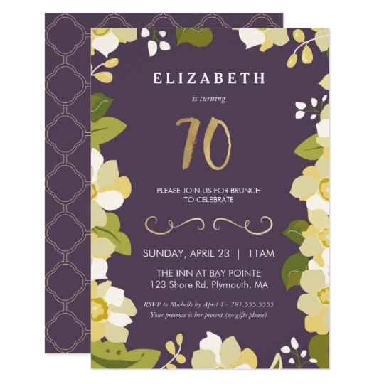 70th Birthday Invitation, Customise Floral w/ Gold Card