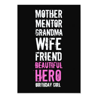 70th Birthday Invitation - Mom Beautiful Hero
