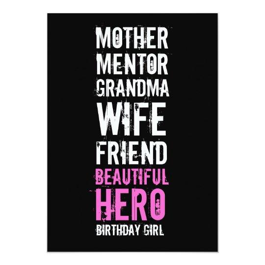 70th Birthday Invitation - Mum Beautiful Hero