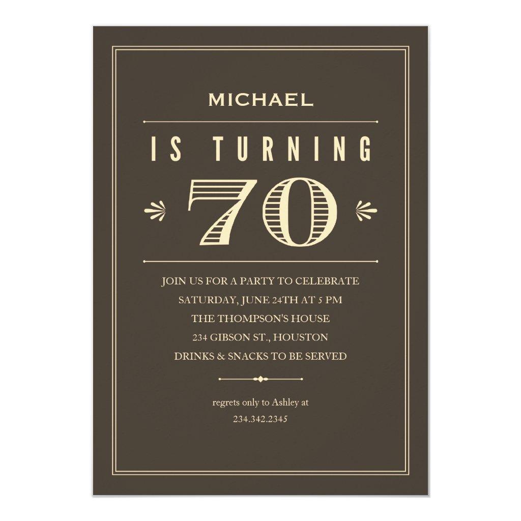 70th Birthday Invitations for Men