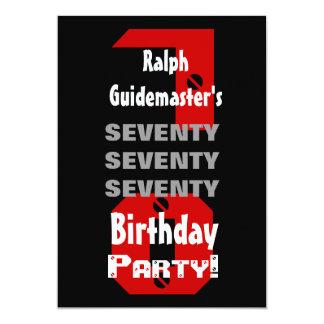 70th Birthday Modern Black Red White Rivets B478 13 Cm X 18 Cm Invitation Card