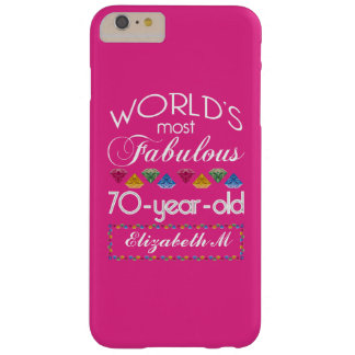 70th Birthday Most Fabulous Colorful Gems Pink Barely There iPhone 6 Plus Case