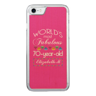70th Birthday Most Fabulous Colorful Gems Pink Carved iPhone 7 Case