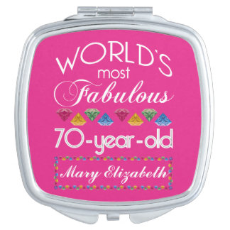 70th Birthday Most Fabulous Colorful Gems Pink Compact Mirror