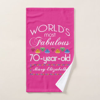 70th Birthday Most Fabulous Colorful Gems Pink Hand Towel