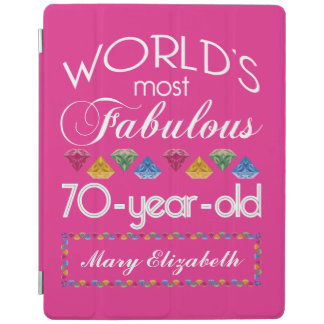 70th Birthday Most Fabulous Colorful Gems Pink iPad Cover