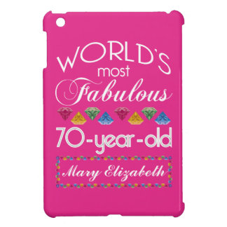 70th Birthday Most Fabulous Colorful Gems Pink iPad Mini Covers