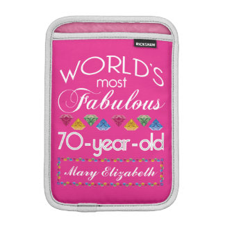 70th Birthday Most Fabulous Colorful Gems Pink iPad Mini Sleeves