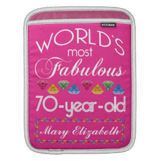 70th Birthday Most Fabulous Colorful Gems Pink iPad Sleeve