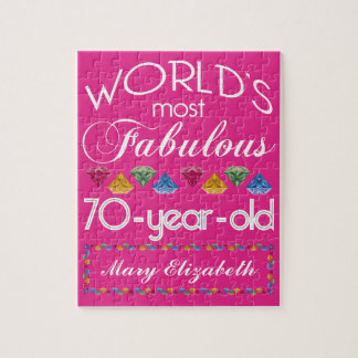 70th Birthday Most Fabulous Colorful Gems Pink Jigsaw Puzzle