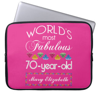 70th Birthday Most Fabulous Colorful Gems Pink Laptop Computer Sleeves