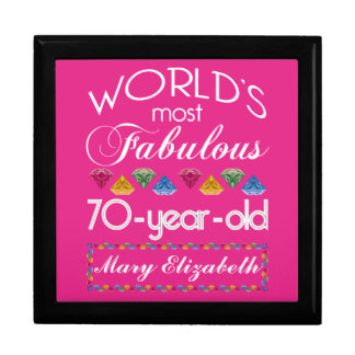 70th Birthday Most Fabulous Colorful Gems Pink Large Square Gift Box