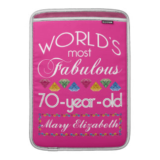 70th Birthday Most Fabulous Colorful Gems Pink MacBook Air Sleeves