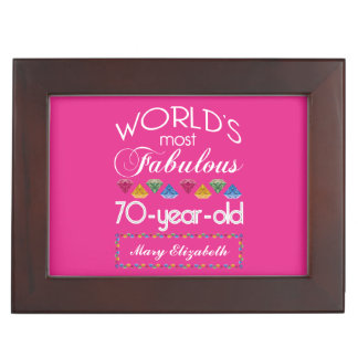 70th Birthday Most Fabulous Colorful Gems Pink Keepsake Box