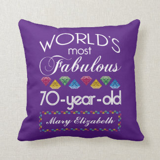 70th Birthday Most Fabulous Colorful Gems Purple Cushion