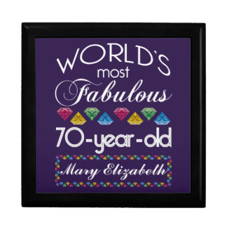 70th Birthday Most Fabulous Colorful Gems Purple Trinket Boxes