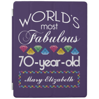 70th Birthday Most Fabulous Colorful Gems Purple iPad Cover