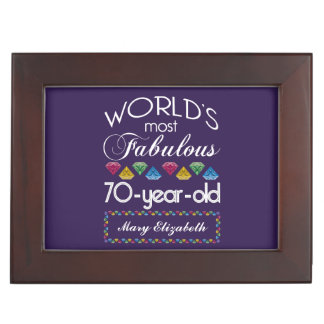 70th Birthday Most Fabulous Colorful Gems Purple Memory Boxes