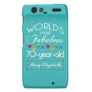 70th Birthday Most Fabulous Colorful Gems Turquois Droid RAZR Cases