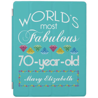 70th Birthday Most Fabulous Colorful Gems Turquois iPad Cover