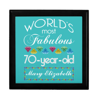70th Birthday Most Fabulous Colorful Gems Turquois Large Square Gift Box