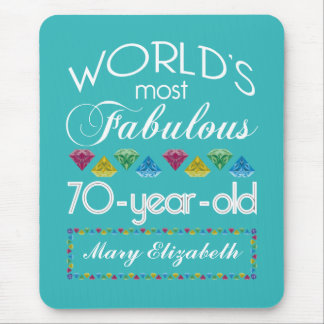 70th Birthday Most Fabulous Colorful Gems Turquois Mouse Mat