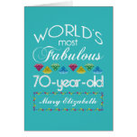70th Birthday Most Fabulous Colourful Gems Greeting Card