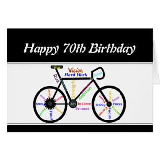 70th Birthday Motivational Bike Bicycle Cycling Greeting Card