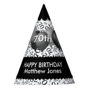 70th Birthday Number Pattern Black White Scallops Party Hat