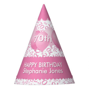 70th Birthday Number Pattern Pink White Scallops Party Hat