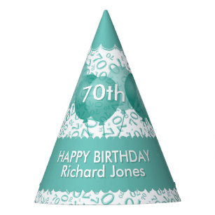 70th Birthday Number Pattern Teal White Scallops Party Hat