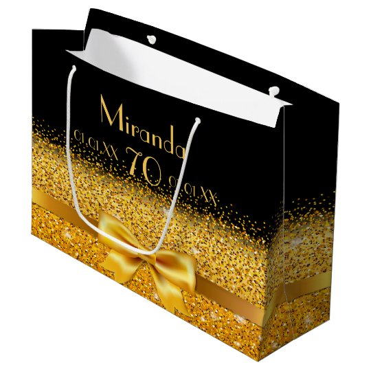 70th birthday on black with gold bow sparkle