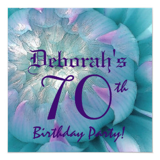 70th Birthday Party Beautiful Dahlia Bloom 13 Cm X 13 Cm Square Invitation Card