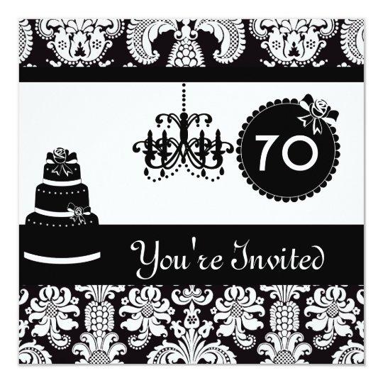 70th Birthday Party Black & White Damask Invitatio