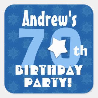 70th Birthday Party Blue Stars Custom Name V16 Square Stickers