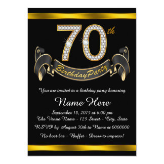 70th Birthday Party Card