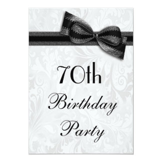 70th Birthday Party Damask and Faux Bow 13 Cm X 18 Cm Invitation Card
