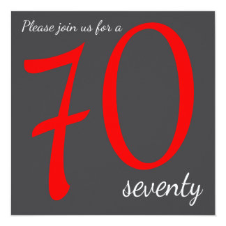 70th Birthday Party  | DIY Text 13 Cm X 13 Cm Square Invitation Card