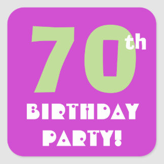 70th Birthday Party Envelope Seal Purple and Lime Square Stickers