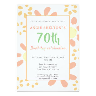 70th Birthday Party Floral Motivational Funny Invitation