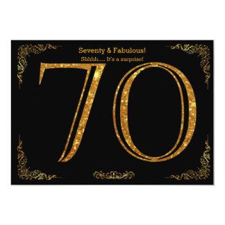70th Birthday party,Gatsby styl,black gold glitter 13 Cm X 18 Cm Invitation Card
