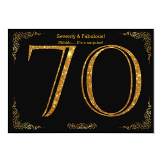 70th Birthday party,Gatsby styl,black gold glitter Card