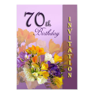 70th Birthday Party Invitation - Freesias